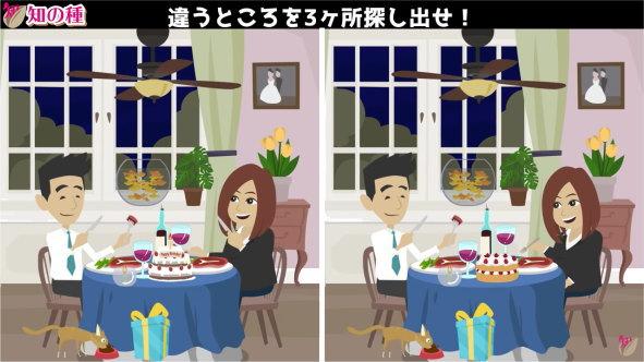 【間違い探し】左右のアニメーションを比較して間違いを3か所探す脳トレ