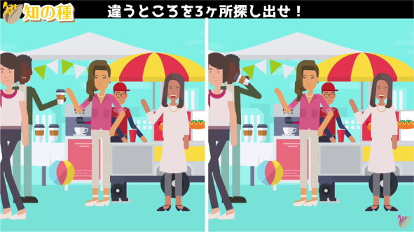 【間違い探し】左右のアニメを比較して異なる部分を3か所探す問題