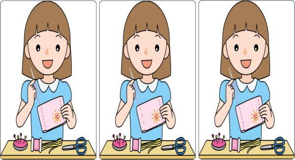 【間違い探し】3枚のイラストを比較して2か所の間違いを探す脳トレ!