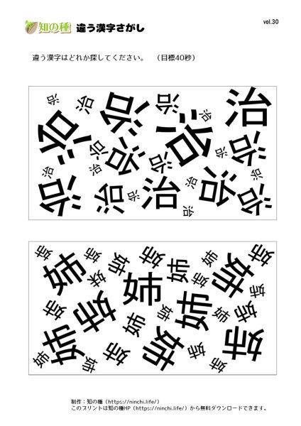違う漢字探し30|知の種の無料プリント