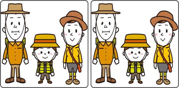 【間違い探し】左右のイラストで違うところを3か所探す大人気脳トレ