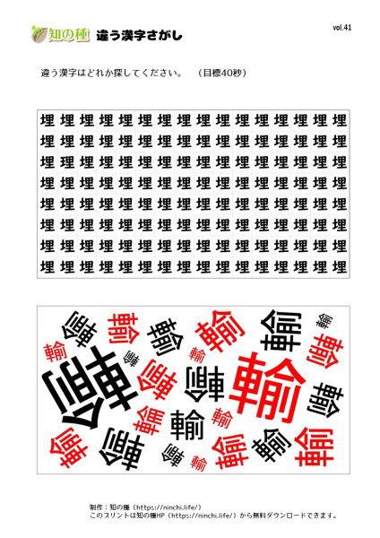 違う漢字探し41|知の種の無料プリント