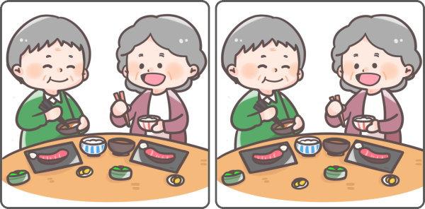 【間違い探し】左右のイラストの違いを見抜く高齢者向け脳トレ
