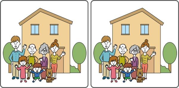 【間違い探し】左右のイラストで3カ所の違いを見抜く脳トレ