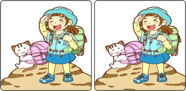 【間違い探し】左右のイラストで3カ所の違いを探す脳トレ