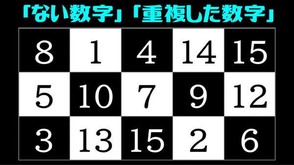 【数字探し】欠けた数字と重複した数字を探す脳トレ!
