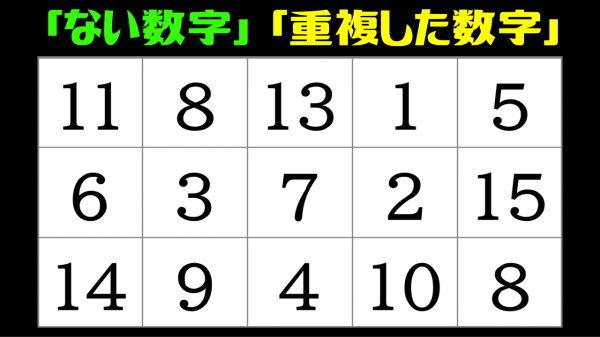 【数字探し】欠けた数字と重複した数字を探す脳トレ
